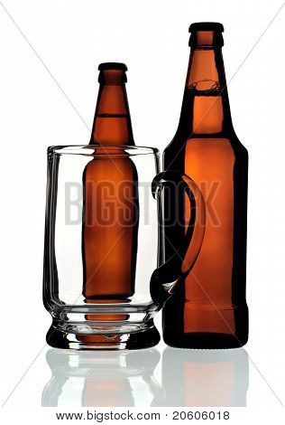 Glass Mug And Two Bottles Of Beer, Isolated