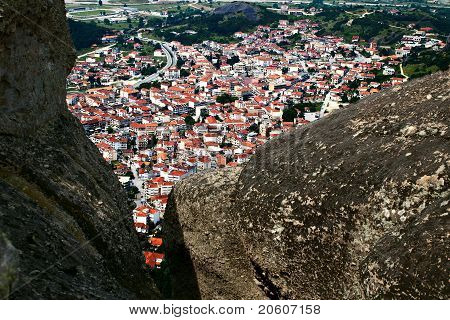 Kalampaka City Under Rocks, Meteora, Greece