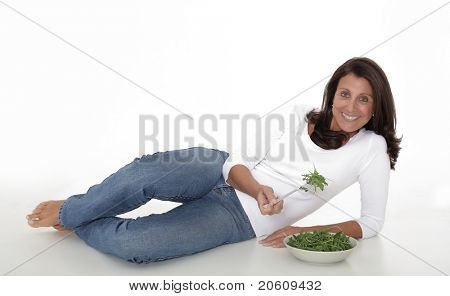 Healthy lifestyle - Mature woman eating