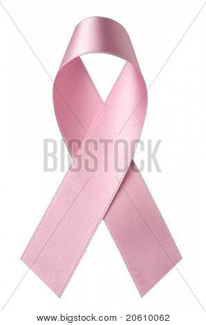 Pink satin breast cancer awareness ribbon isolated