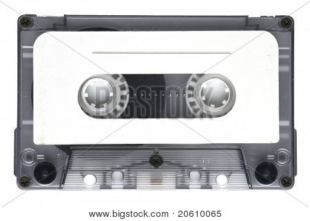 Old tape cassette isolated, dusty and grunge