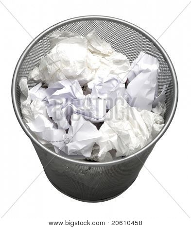 full Trash can isolated on white background