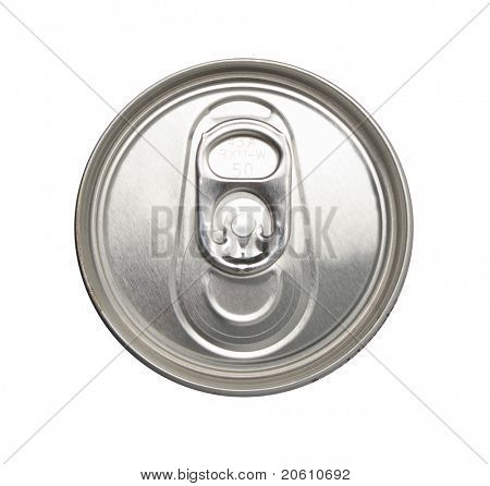 Close-up shot of the top of a canned drink