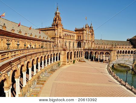 Panorama Of The Plaza De Espana In Seville Spain