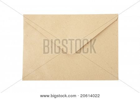 Brown recycled envelope isolated on white backgroung