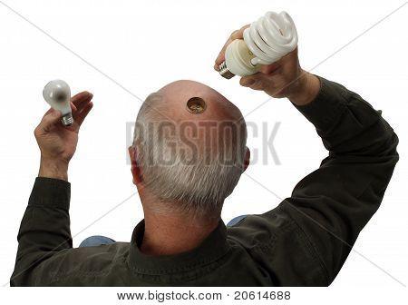 A Man Changing To Green Lightbulb