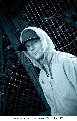 Young Man Wearing A Hoody