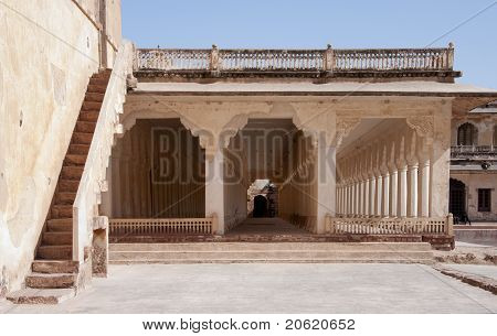 Triple column galery at Nagaur's palace in Rajasthan.