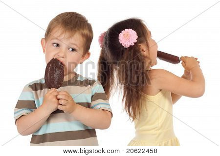 Two Little Children With Ice Cream