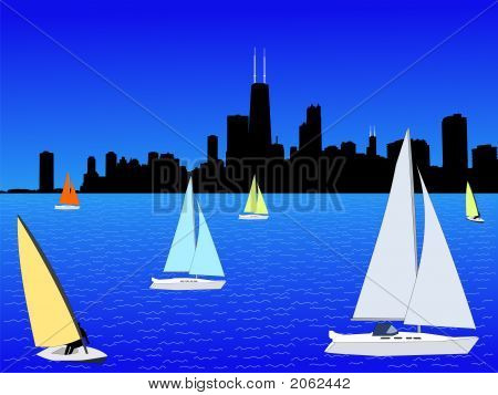 Yachts With Chicago Skyline