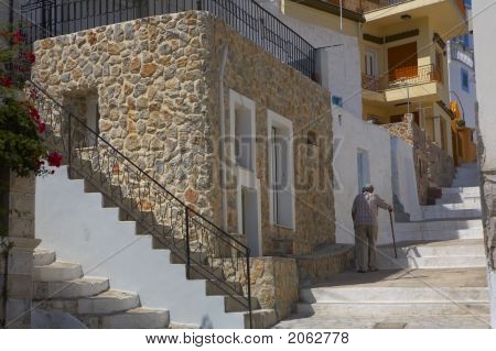 Old Man Walking Alone The Stairs Up