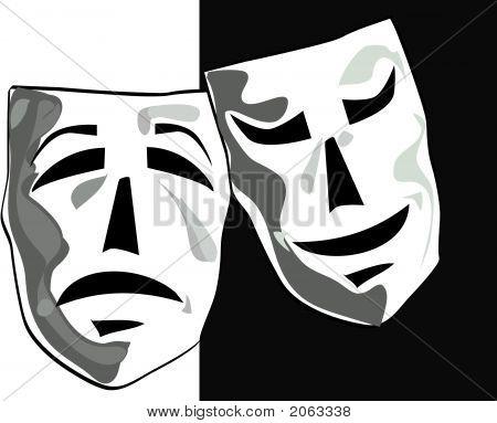 Illustration Of Theater Masks.