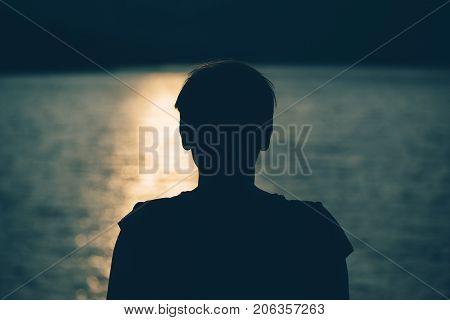 Silhouette of depressed