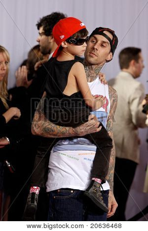 LOS ANGELES - JAN 31:  Travis Barker and son Landon arrive at the 52nd Annual GRAMMY Awards held at Staples Center in Los Angeles, California on January 31, 2010.