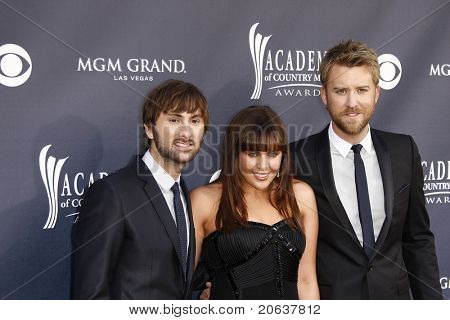 LAS VEGAS - APR 03:  Lady Antebellum - Dave Haywood, Hillary Scott, Charles Kelley arrive for the 46th Academy of Country Music Awards at the MGM Grand Hotel Casino in Las Vegas, NV on April 3, 2011.
