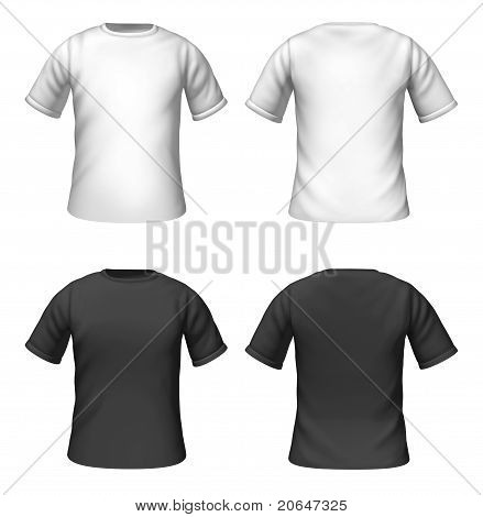 Blank T-shirts Template With Black And White Color