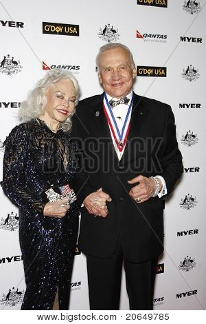 LOS ANGELES - JAN 22: Buzz Aldrin and wife Lois at the 2011 G'Day USA Australia Week LA Black Tie Gala at the Hollywood Palladium in Los Angeles, California on  January 22, 2011.