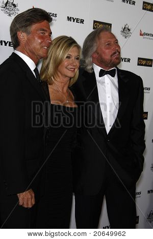LOS ANGELES - JAN 22: Olivia Newton John, John Easterling, Barry Gibb at the 2011 G'Day USA Australia Week LA Black Tie Gala at the Hollywood Palladium in Los Angeles, California on  January 22, 2011.