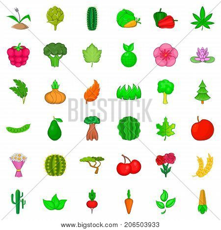 poster of Botany icons set. Cartoon style of 36 botany vector icons for web isolated on white background