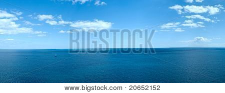 Panorama Of A Sea Landscape With White Clouds And The Quiet  Blue Water