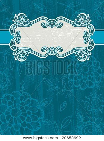 Blue Grunge Background With Decorative Label