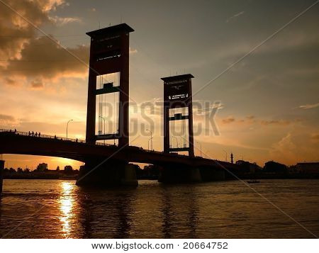 Sunset at Ampera Bridge