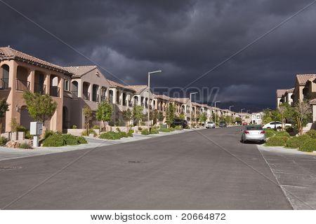 Threatening storm approaches a generic desert suburban street in Las Vegas Nevada.