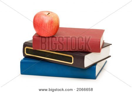 Back To School Concept With Apple And Books