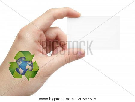 Recycle Tatto hand message card