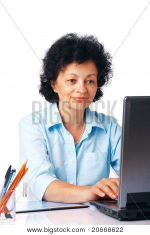 Elder Woman With Laptop.