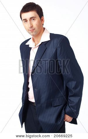 Man In Blue Striped Suit.