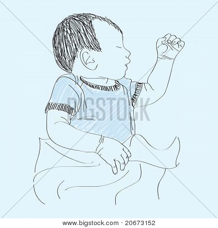 Sleeping baby boy - hand drawn illustration