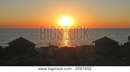 Sunset With Bungalows In The Desert In Front Of The Sea, Anakao, Madagascar, Panoramique