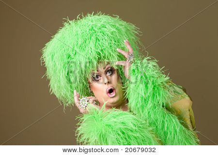 Surprised Drag Queen In Green