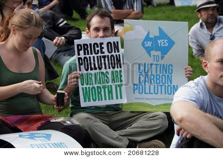 Brisbane, Australia - June 6 : Man Enviromental Protest Signs At Say Yes Rally  During World Envirom