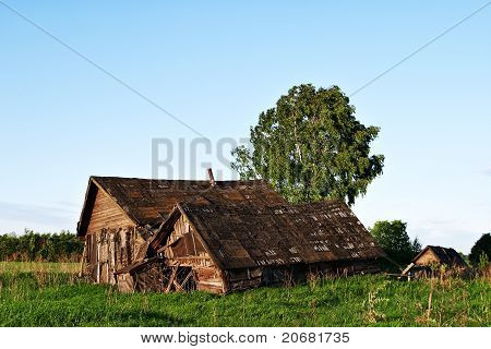 Abandoned Old Wooden Houses In Rural Area