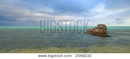 Many Blue Colors In The Sea, Nosy Boraha, Sainte,Marie Island, Madagascar, Panoramique