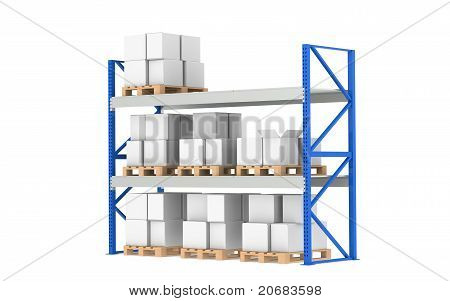 Warehouse Shelves. Medium Stock Level. Part Of A Blue Warehouse And Logistics Series.