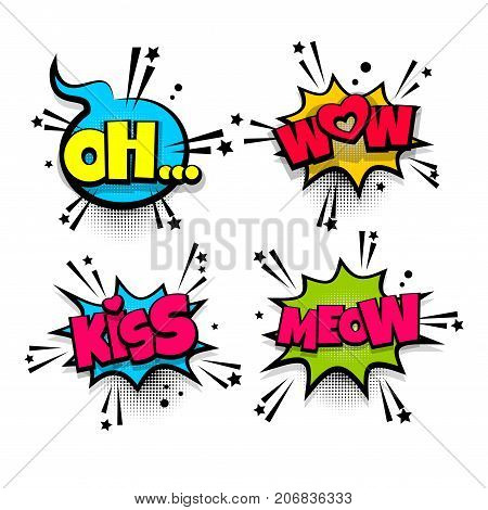 wow meow kiss love oh set lettering  Comics book balloon  Bubble icon  speech pop art phrase  Cartoon font label expression  Comic text sound  effects