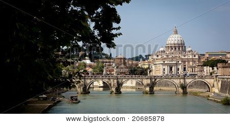 Panoramic view of St. Peter's Basilica and the Vatican City (with the river Tiber winding around it) - Rome, Italy