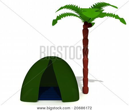 Green Tent Near High Palm Without Puppet