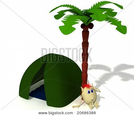 Puppet Sitting Near Green Tent Under Palm