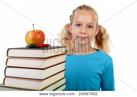 Back To School: Girl With Pile Of Books