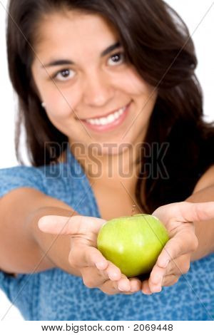 Girl Offering A Green Apple
