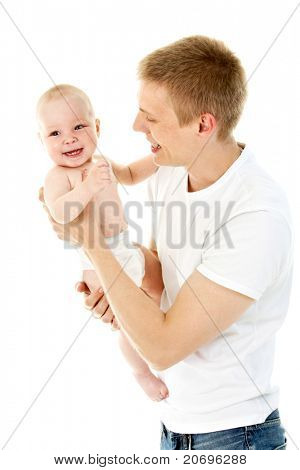Portrait of loving father holding his baby