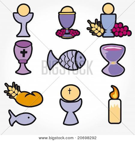 Set of Illustration of a communion depicting traditional Christian symbols