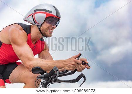 Triathlon biking man cyclist portrait