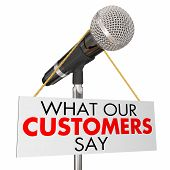 What Our Customers Say Microphone Testimonials 3d Illustration poster