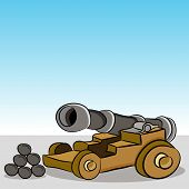 picture of cannonball  - An image of a antique wooden cannon with cannonballs - JPG