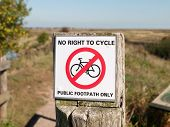 No Right To Cycle Public Footpath Only Country Post Sign poster